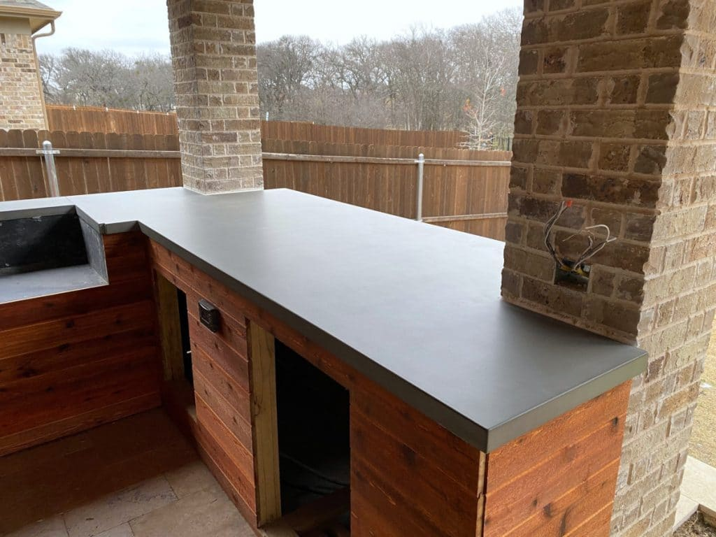 Grey Concrete Countertops for a Large Outdoor Kitchen in Little Elm, Tx