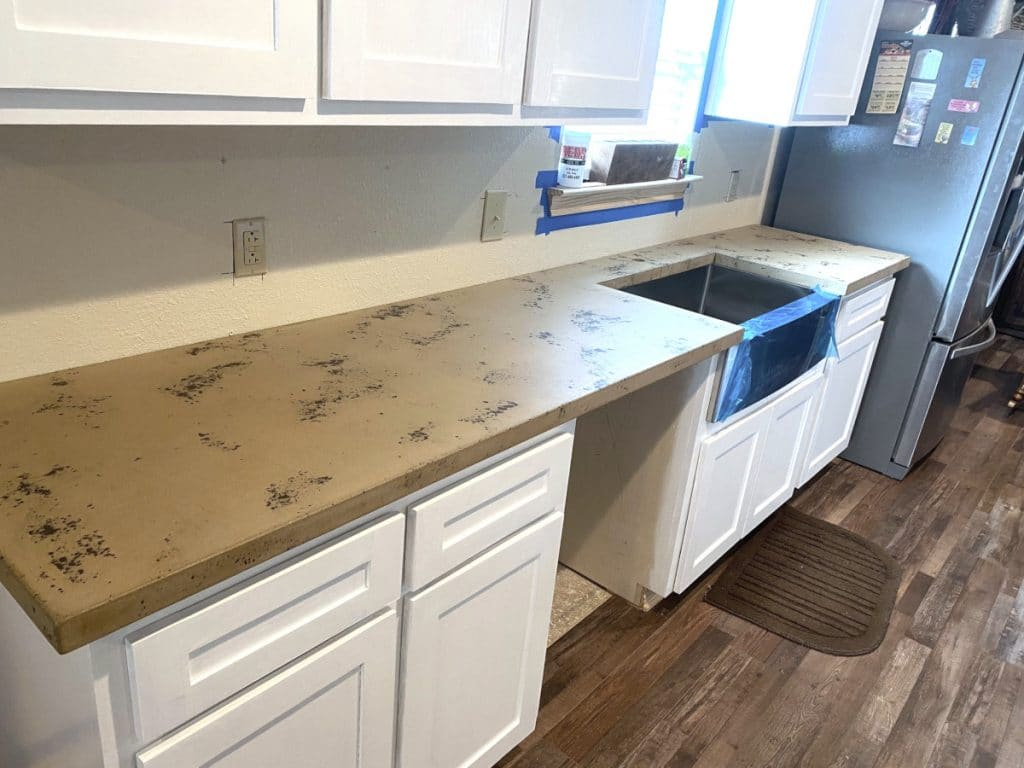 Tan and Brown Concrete Kitchen Countertops in Azle, Tx