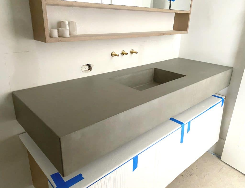"Grey Concrete Floating Vanity with our Integral 20"" x 12"" Rectangular Sink"
