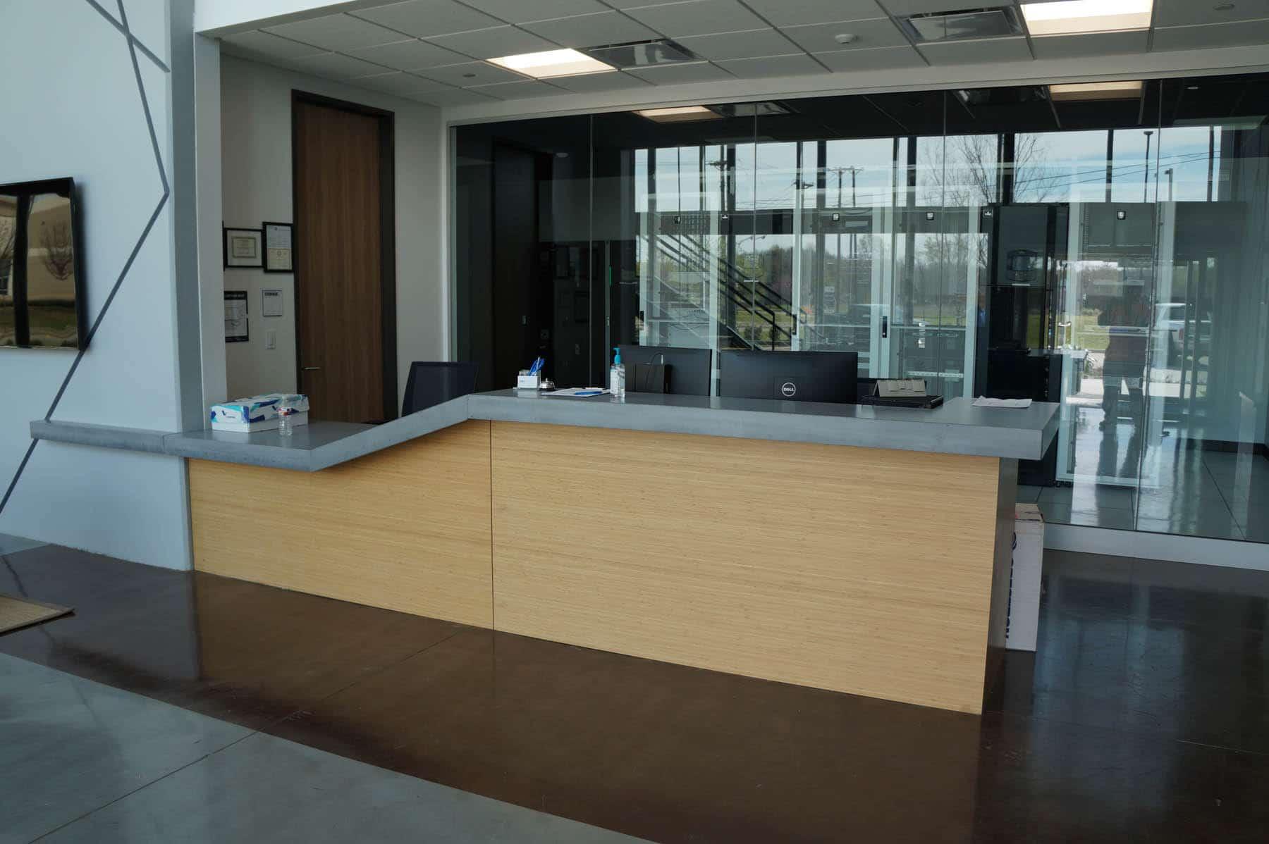 Custom Grey Concrete Countertop for a Reception Desk