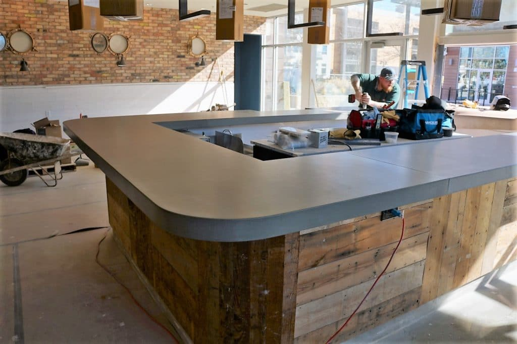 Large Grey Bar Top With Rounded Edges For Fish City Grill Restaurant