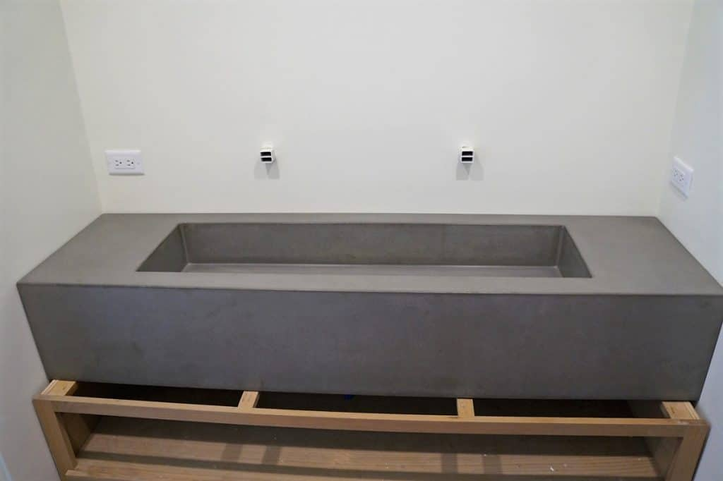 1 of 2 large concrete floating sinks installed in Austin, Tx