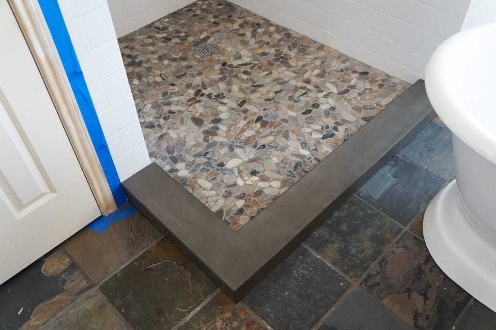 Custom Concrete shower threshold in Collinsville, Tx.
