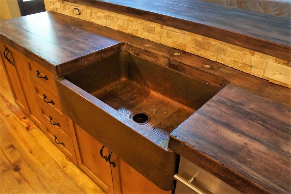 We were able to capture the end grain and side grain inside the sink to add to the effect of real wood.