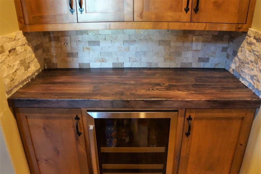 This is the very first job with our wood style concrete countertops.