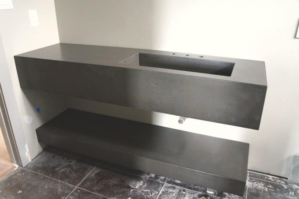 Double level Concrete Vanity and Shelf