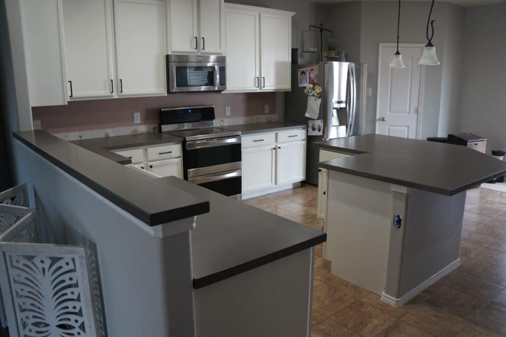 Grey Concrete Countertops for a home in Providence, Tx