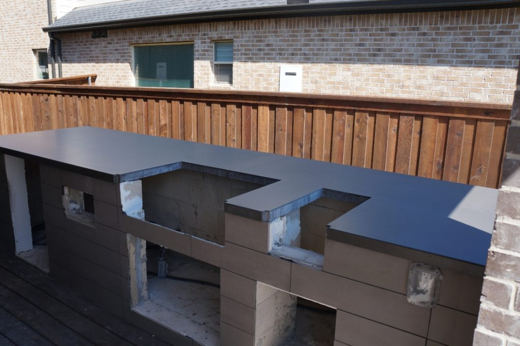 Dark Grey Concrete Countertops for a Hauk Custom Pools Outdoor Kitchen