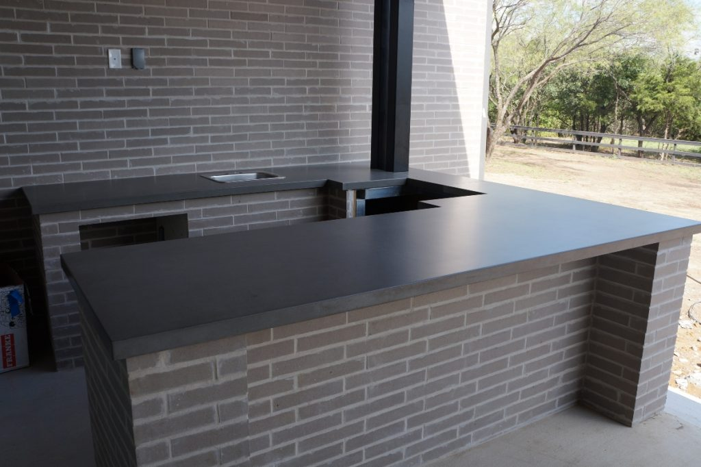 "2"" Thick Grey Concrete Cuntertops for an Outdoor Kitchen in Lewisville, Tx"