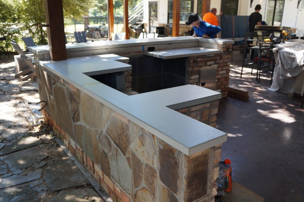 Light Grey Concrete Countertops for an Outdoor Kitchen Lewisville, Tx