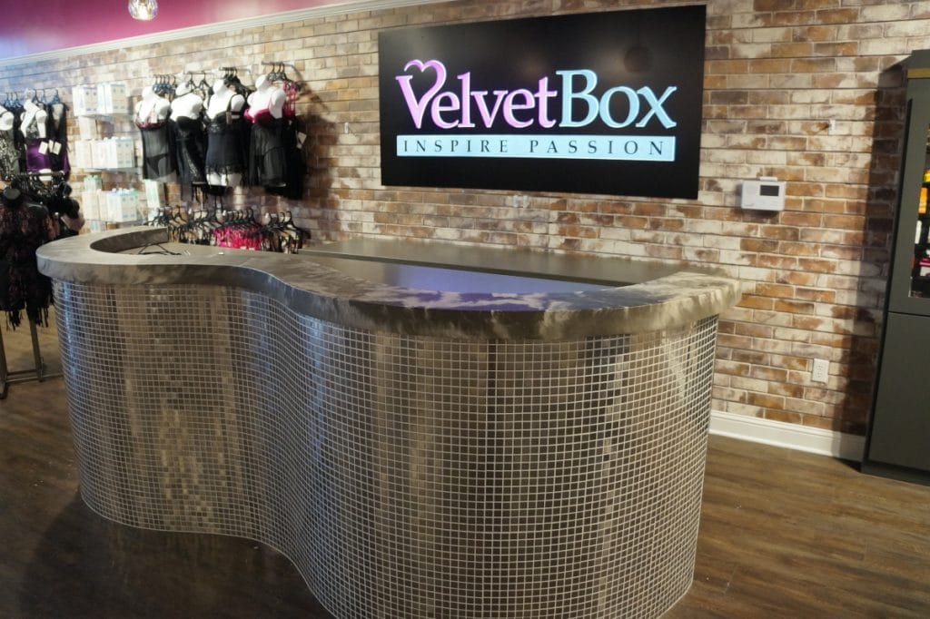 Custom Concrete Countertops for the point of sale at the Velvet Box Plano Location