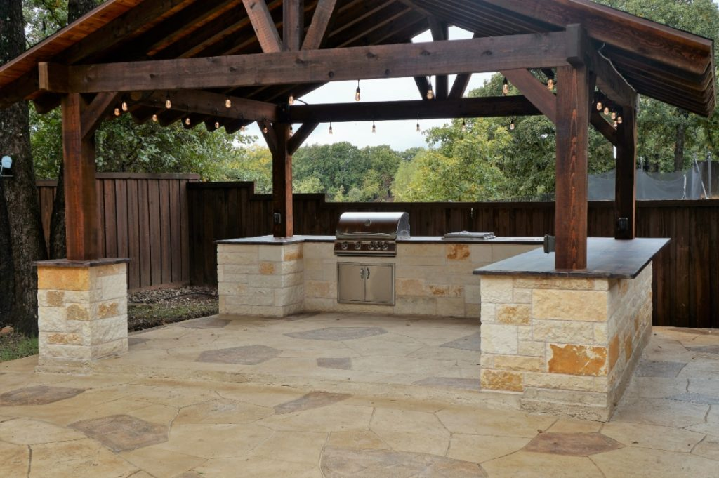 Wood Look Concrete Countertops for an Outdoor Kitchen in Aubrey, Tx