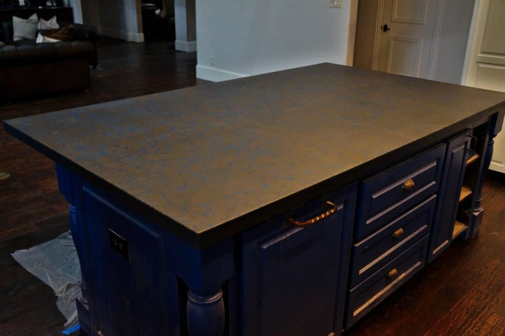 """Large 2"""" thick kitchen island with blue veins"""
