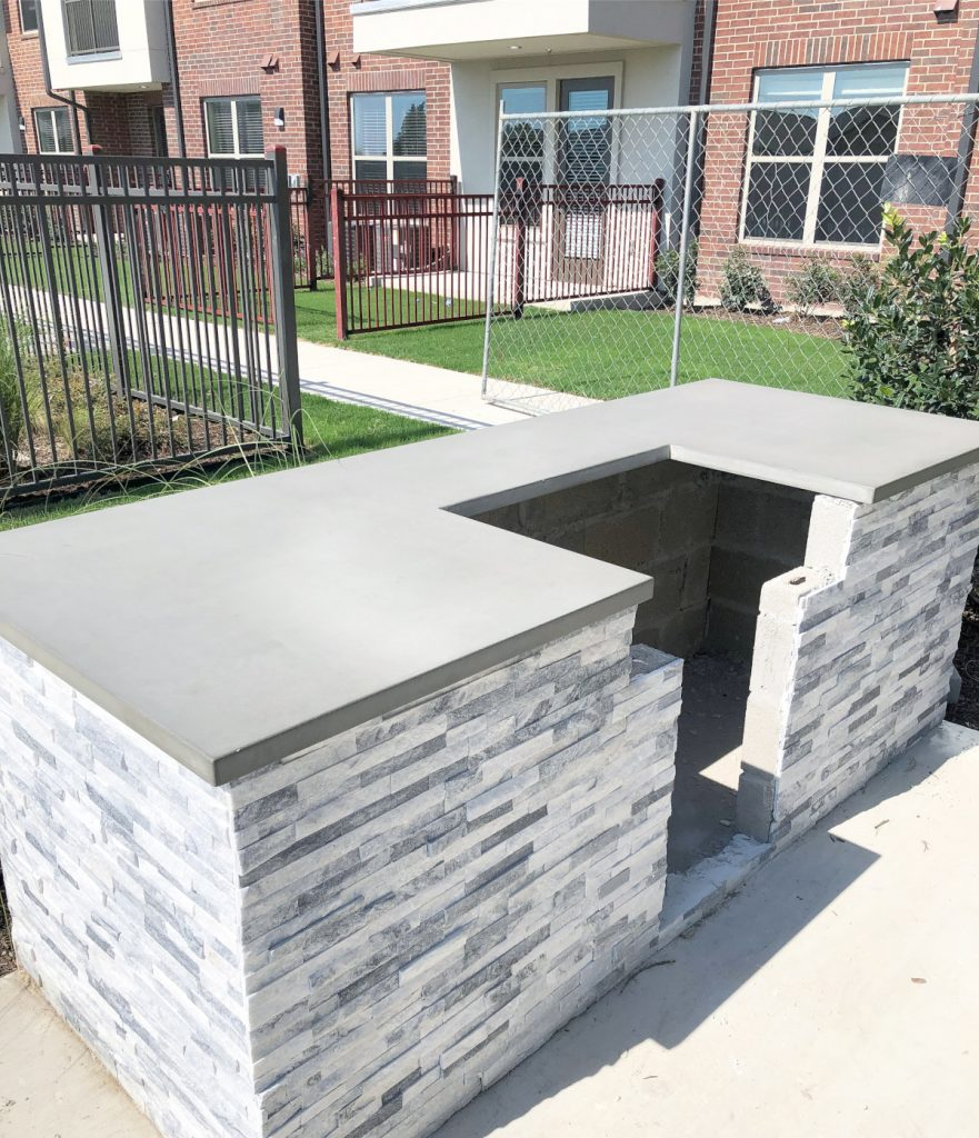 Concrete Countertops are a Great Option for Apartment Complex Grill Stations like This One!