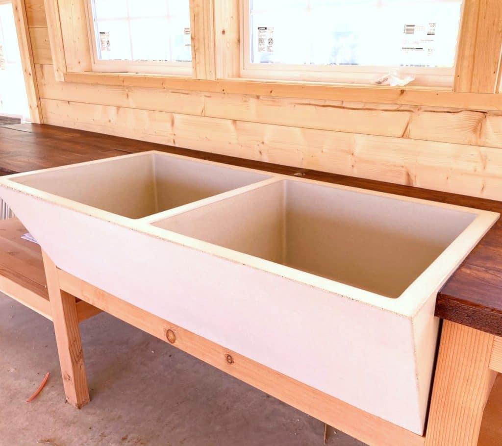 A Massive Dual Bowl Concrete Farm Sink!