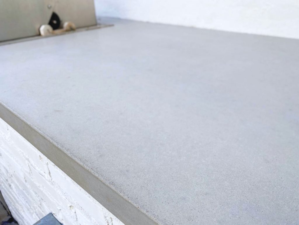 Close Up View Of The Grey Concrete Countertop