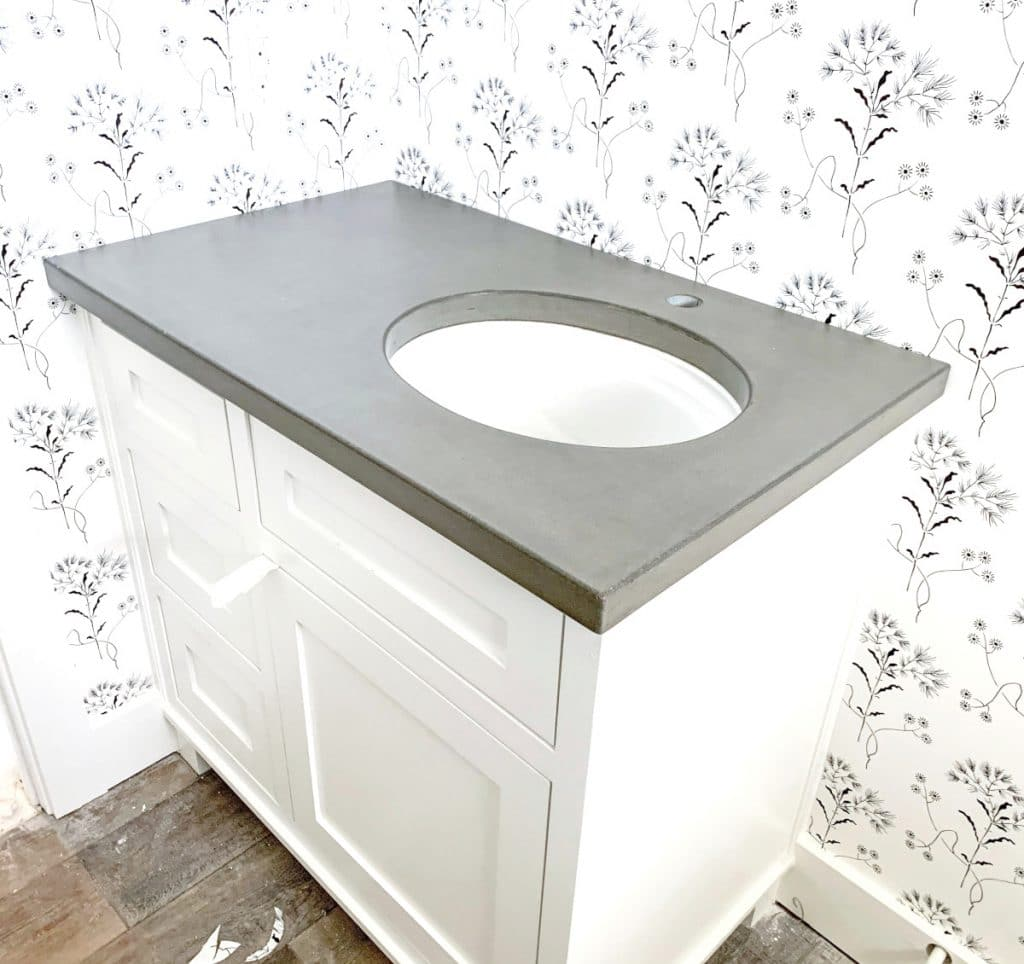 Beautiful Plain Grey Paired with a White Porcelain Sink
