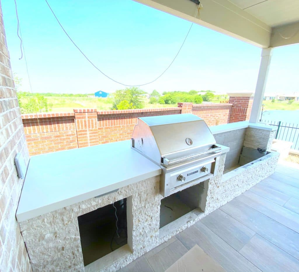 Bright White Concrete Countertops for an Elite Outdoor Living Outdoor Kitchen in Frisco Tx