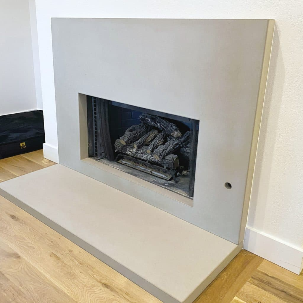 "Custom Light Grey 3"" Concrete Fireplace Surround and Hearth"