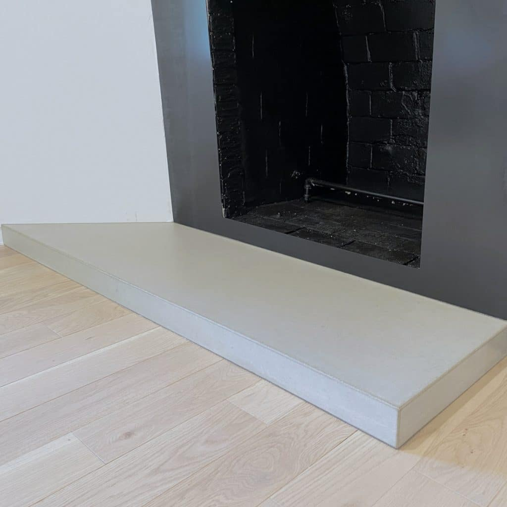 Like Grey Concrete Fireplace Hearth