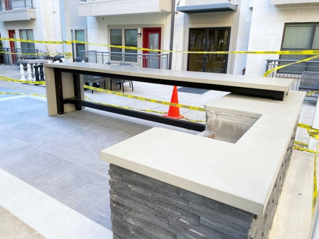 Custom Concrete Countertops for a Grilling Station at an Apartment Complex in Addison