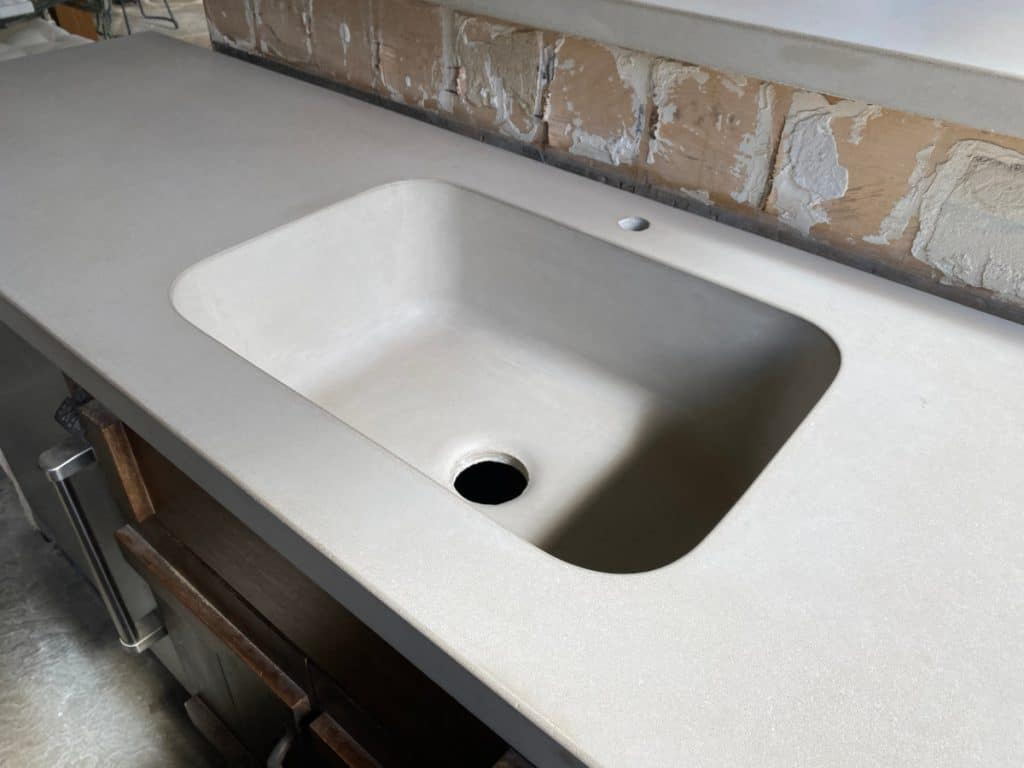 Amazing Shot of our Custom Integrated Concrete Farm Sink