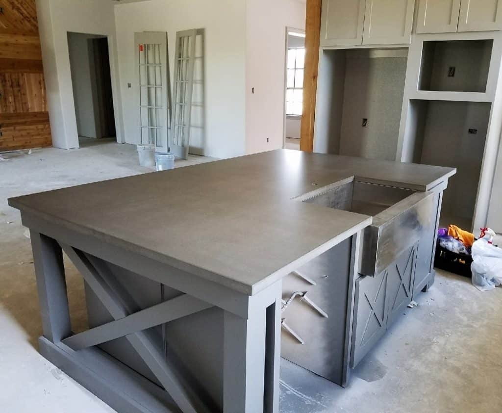 This is a large grey concrete island we installed in a home in Prosper, Tx.