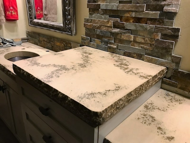 This is one of our most popular styles for countertops with chiseled edge, light tan with dark brown veins running through it.