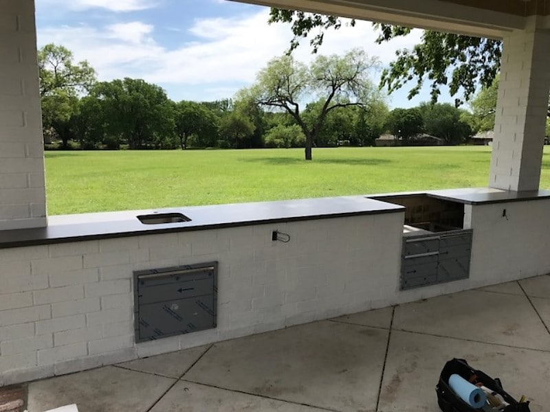 Lots of cooking space with these concrete countertops we did for this outdoor kitchen.