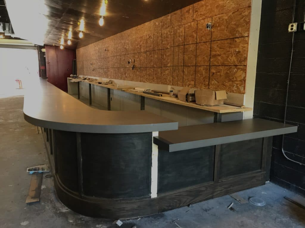 Large Grey Concrete Bar Top For Bodega Grill Restaurant