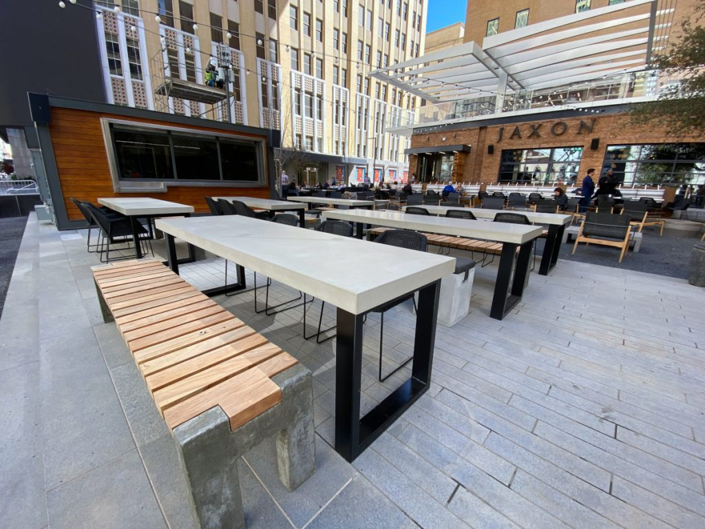 6 Grey Concrete Table Tops for Outdoor Seating For Jaxon Beer Garden