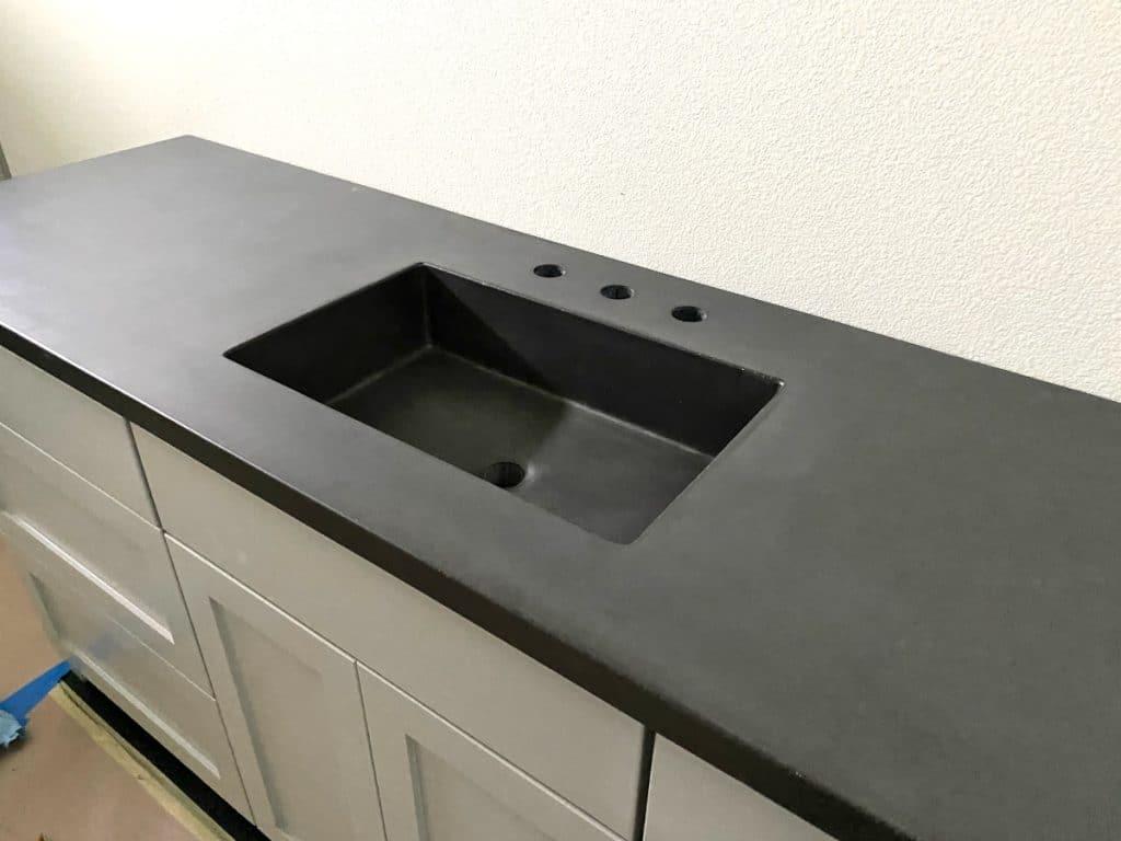 "Dark Grey Concrete Countertop with Integral Concrete 20""x 12"" sink"