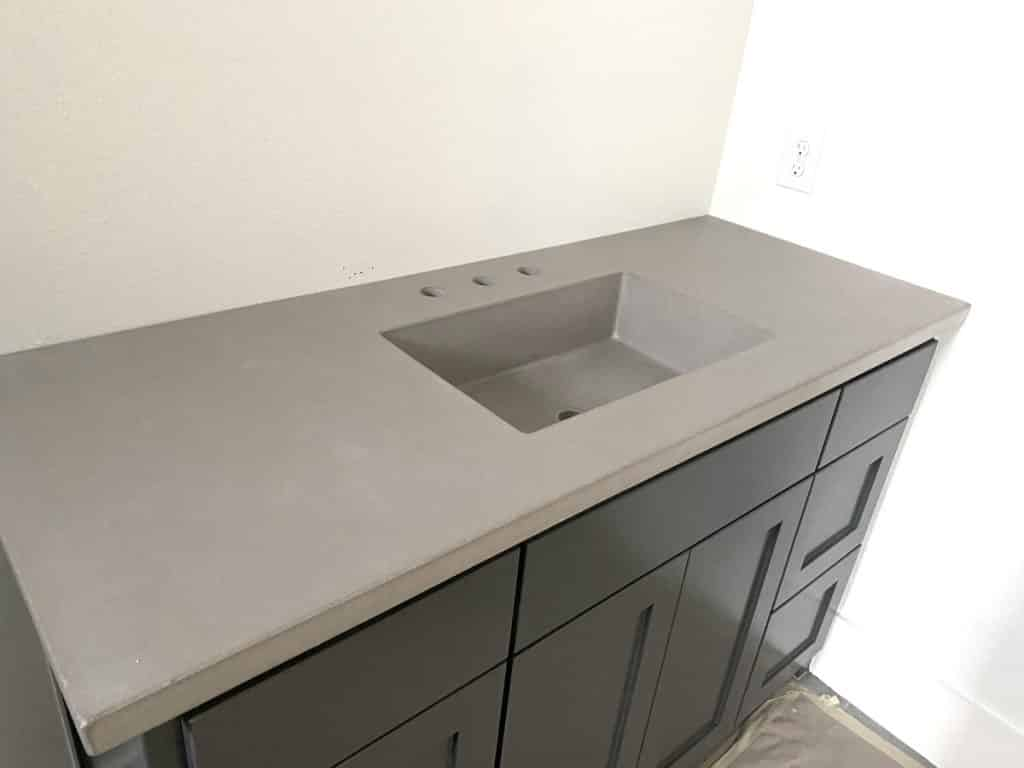 "Light Grey Concrete Countertop with 20""x12"" intergral concrete sink."