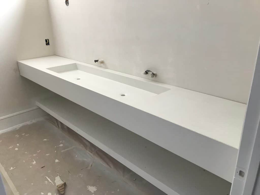 10 Foot Floating Concrete Vanity installed in a home in Dallas, Tx