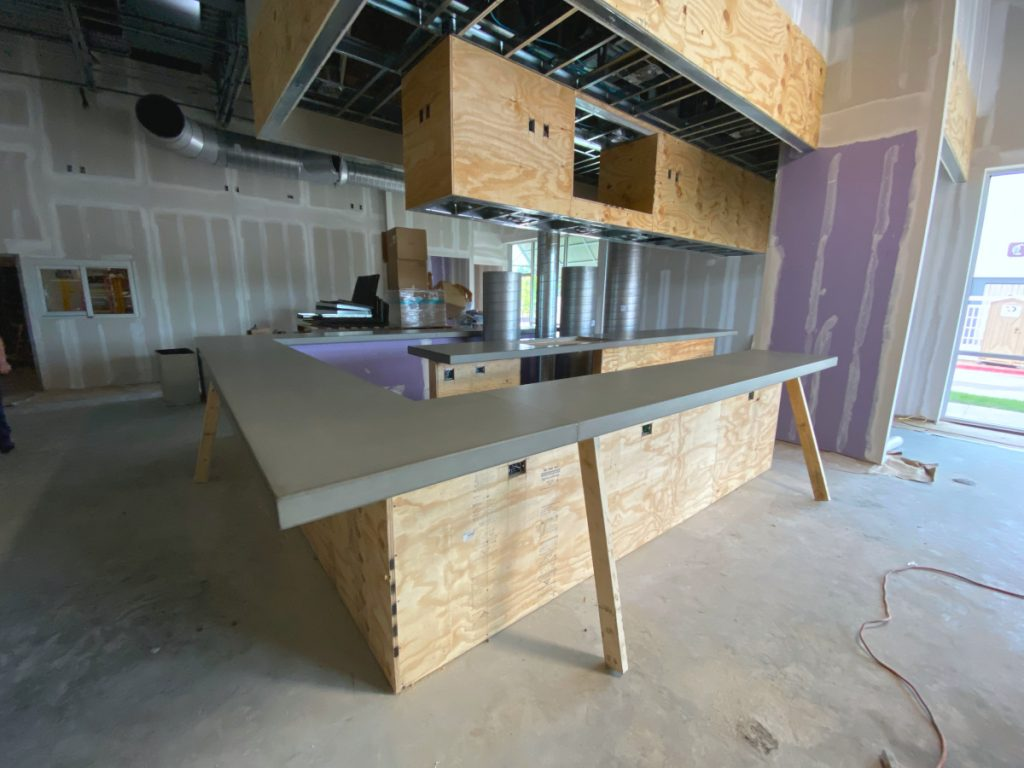 Grey Concrete Bar Top For Dog Haus Restaurant