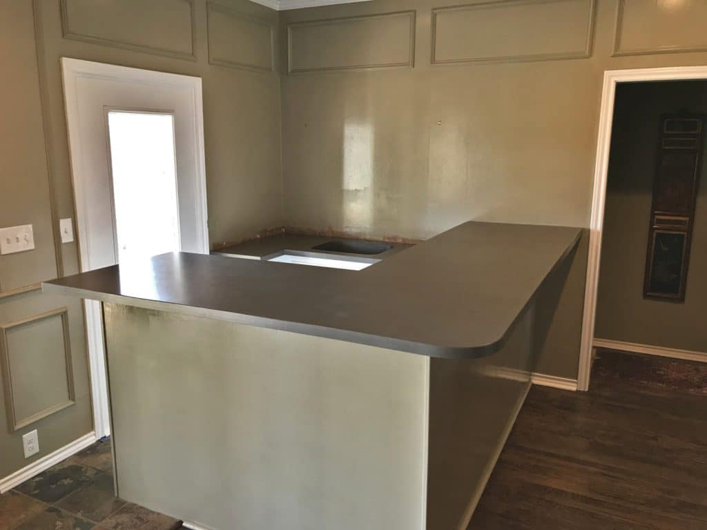 Big Concrete Bar Top with Lower Level Concrete Sink