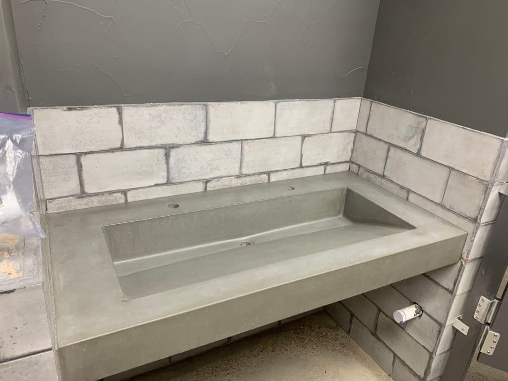 Grey Floating Vanity with Ramp Sink