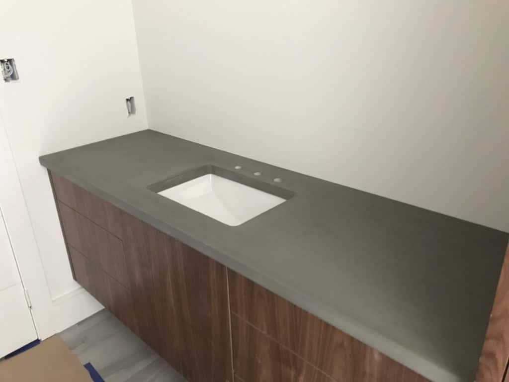 Simple Grey Concrete Vanity with undermount sink