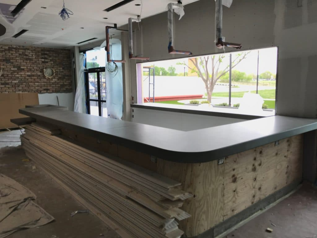 Big Curved Concrete Bar Top for Fish City Grill