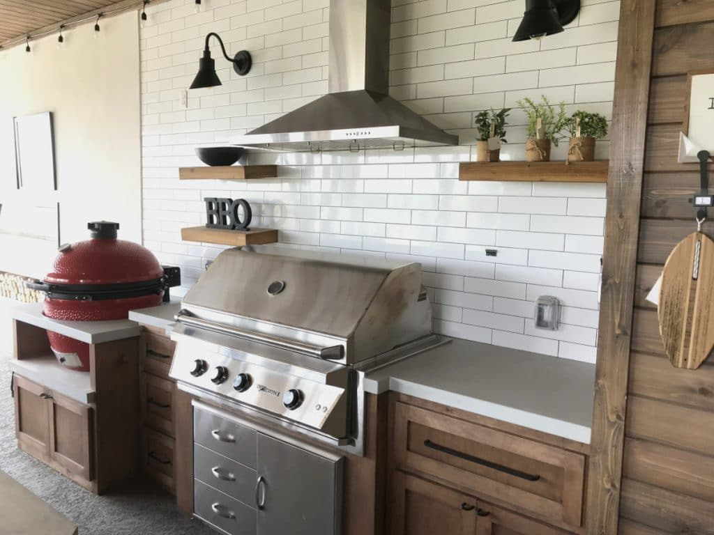 Multi Level Light Grey Concrete Countertops for an Outdoor Kitchen