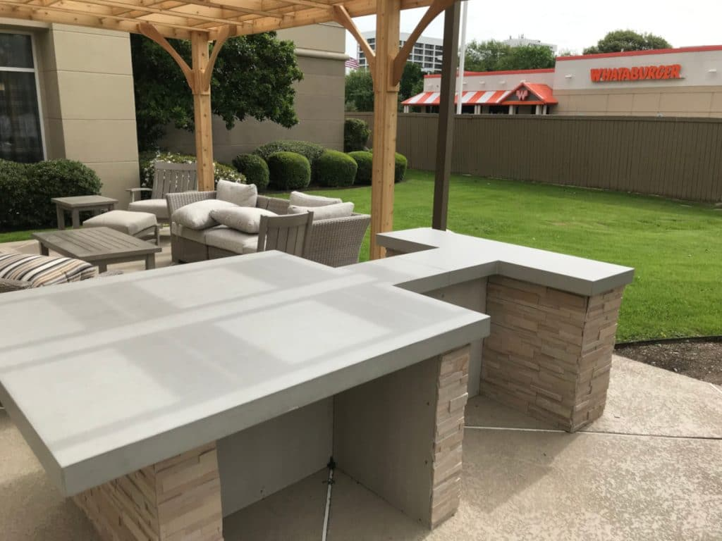 Thick Light Grey Concrete Countertop for a Hilton Hotel in Dallas, Tx