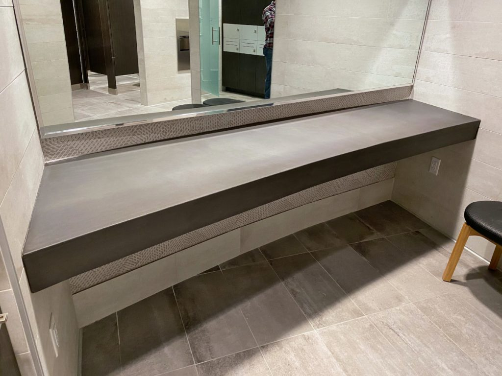 Dark Grey Curved Concrete Vanity Top