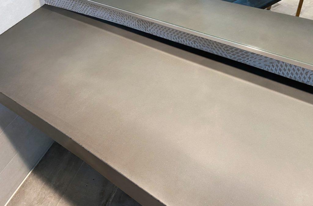 Dark Grey Curved Concrete Vanity Top