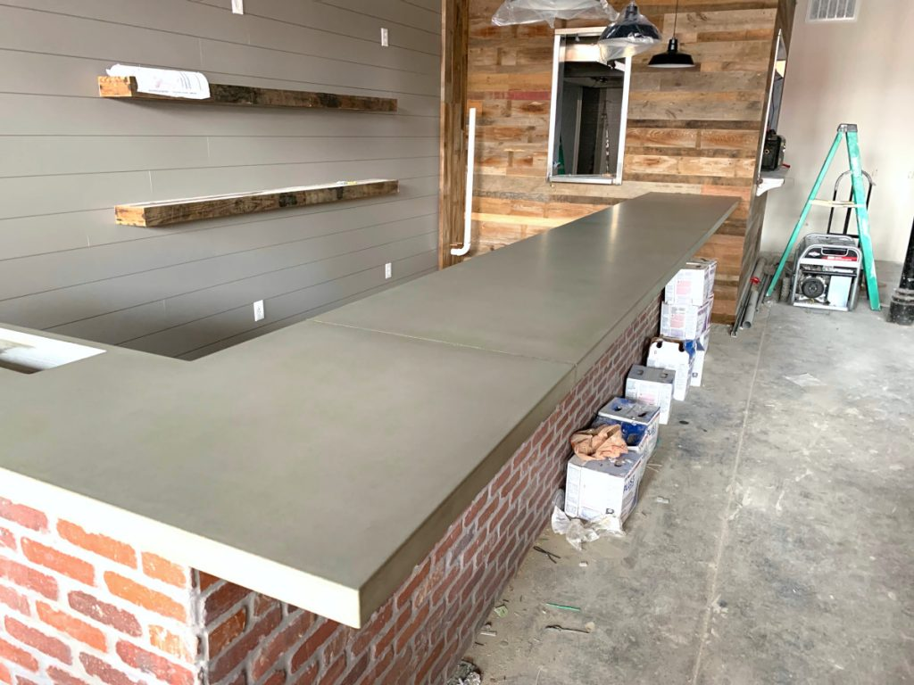 Long Grey Concrete Bar Top for a Restaraunt