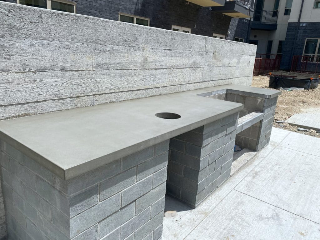 Grey Concrete Countertops for Outdoor Kitchen