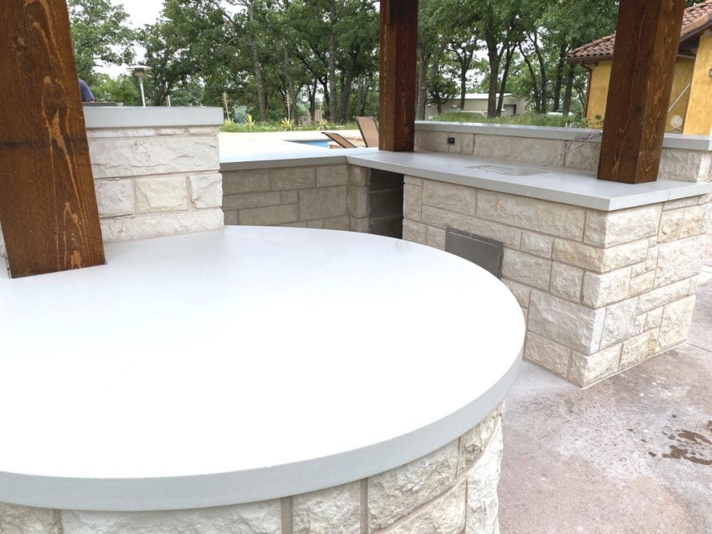 All White Concrete Countertops for this Outdoor Kitchen in Aubrey, Tx
