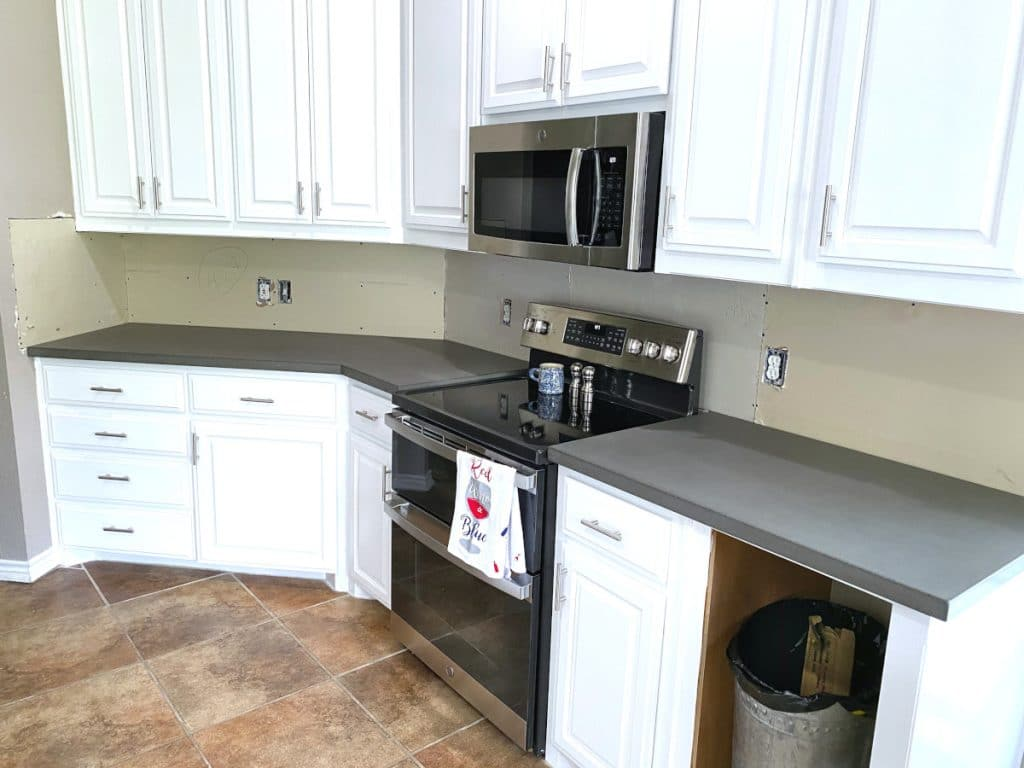 The Perimeter Concrete Countertops for this Open Concept Kitcehn