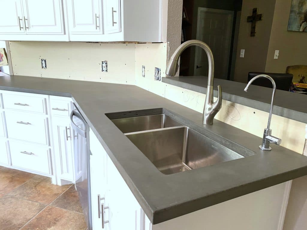 Our Plain Grey Concrete Countertops Paired with a Stainless Steel Undermount Sink