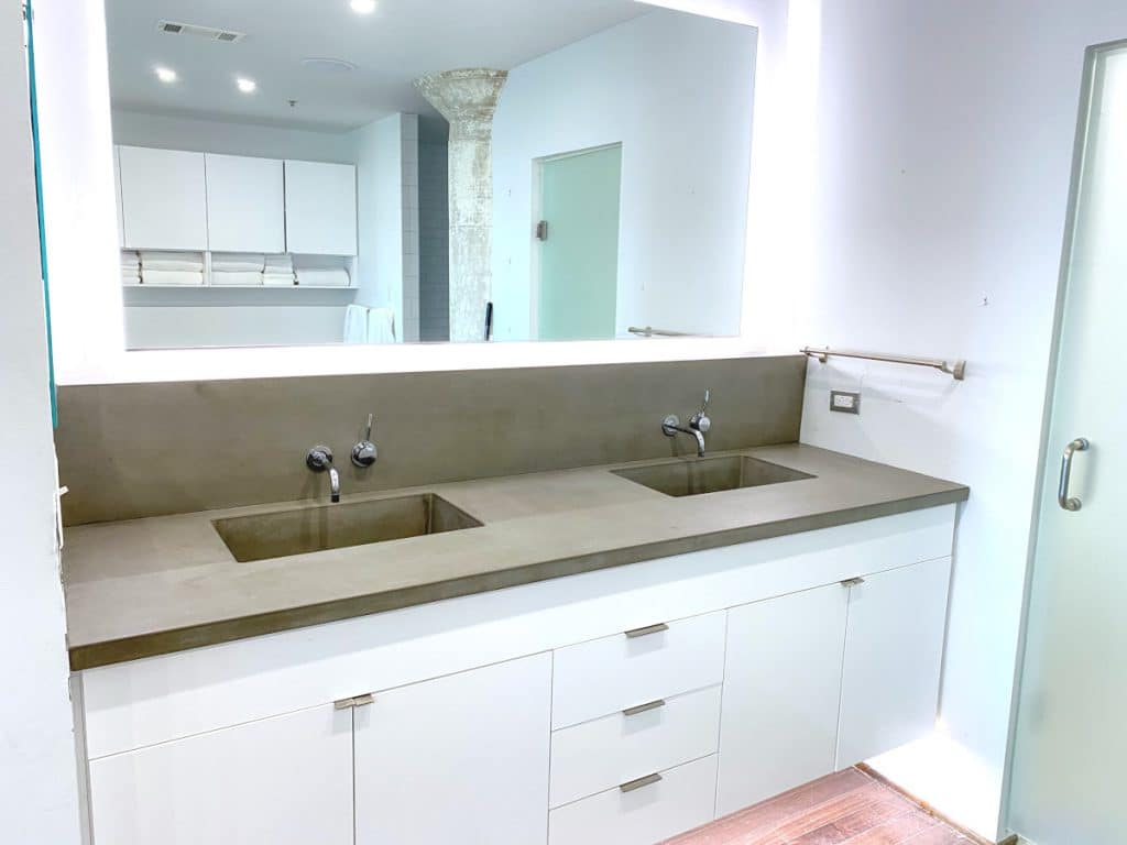 Our Plain Grey Concrete Vanity with Double Integral Sink and Matching Backsplash