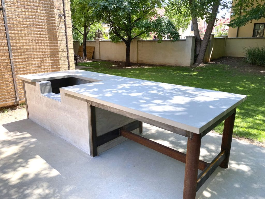 "Our Light Grey Concrete Countertops at 2"" thick For this Large Outdoor Grilling Station!"